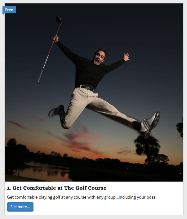 online golf class - get comfortable on the golf course