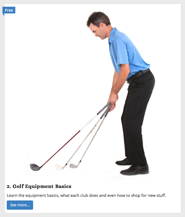 online golf class - golf equipment basics